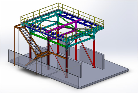 Designed Steel structure that was prefabbed into four separate sub assemblies and erected on site Computer model of four subassemblies is shown